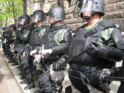 Picture of Armed Security Guards In a Line