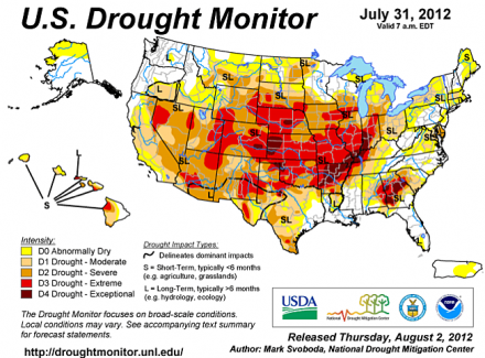 Dead Crops, Extreme Drought And Endless Wildfires Are Now The New Normal In America U.S. Drought Monitor July 31 440x325
