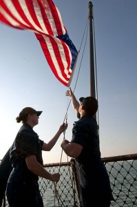 Lowering The American Flag