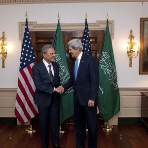 U.S. Secretary of State John Kerry holds a bilateral meeting with Saudi Foreign Minister Saud al-Faisal at the U.S. Department of State in Washington, D.C., on April 16, 2013.