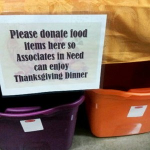 Wal-Mart Collecting Donations For Their Employees - Photo Courtesy Of OUR Wal-Mart