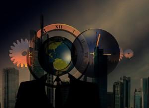 Skyline Globe Clock Gears - Public Domain